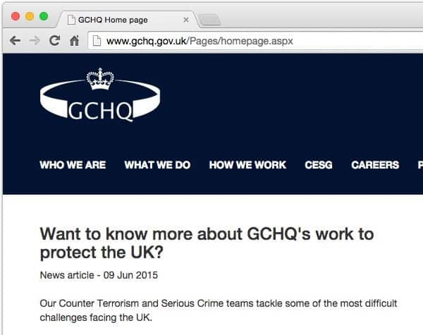 GCHQ website doesn't use HTTPS