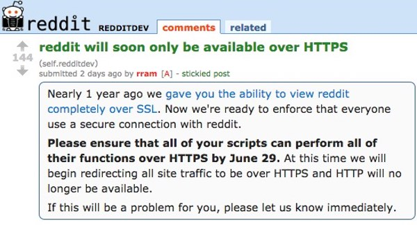 Reddit HTTPS announcement