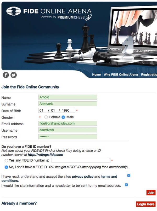 Register for FIDE account