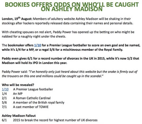 Paddypower press release