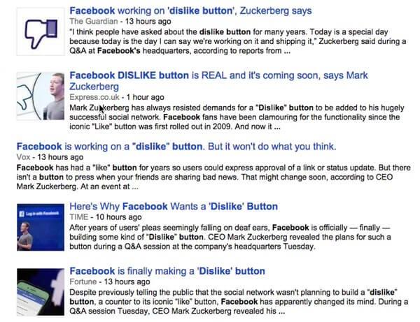 Facebook dislike headlines