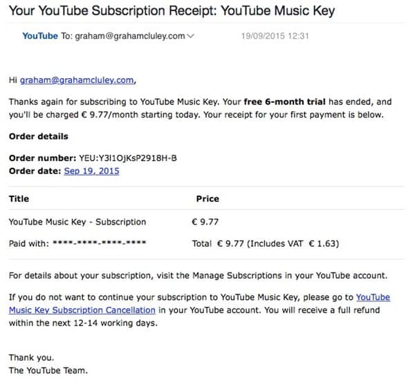 Youtube music key spam
