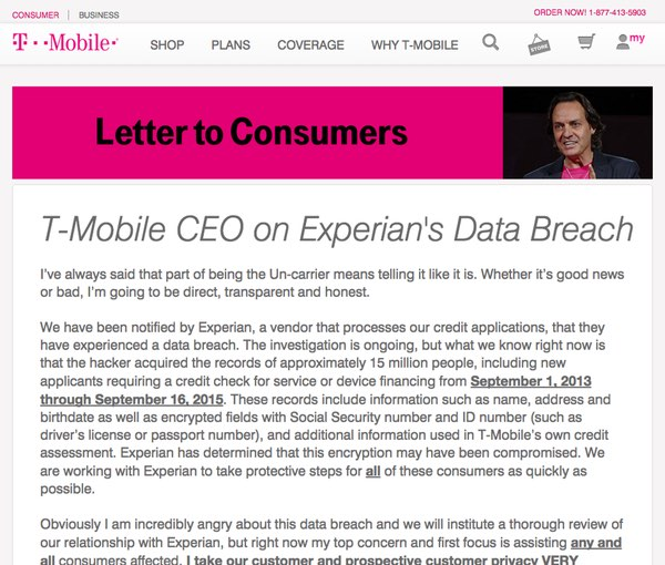 T-Mobile statement by CEO
