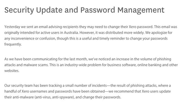 Xero statement