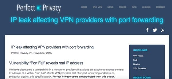 Screenshot from Perfect Privacy blog