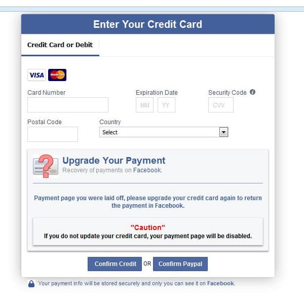 Facebook payment card phishing