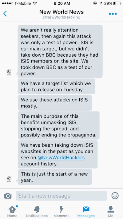 New world news claims credit for the attack