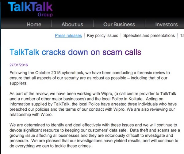 Talktalk statement