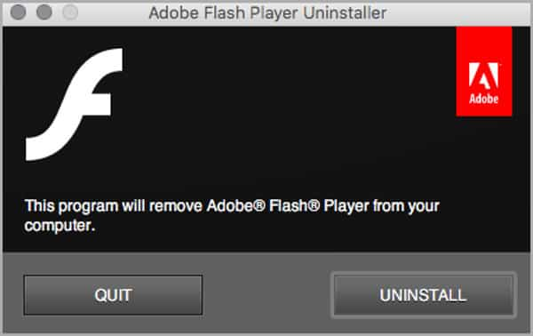 Flash is being uninstalled