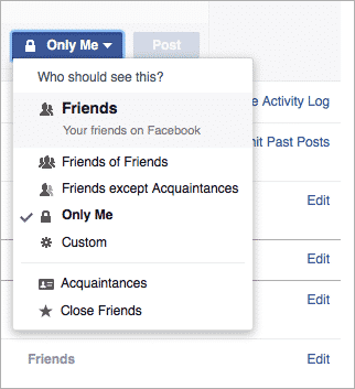 Facebook audience selector