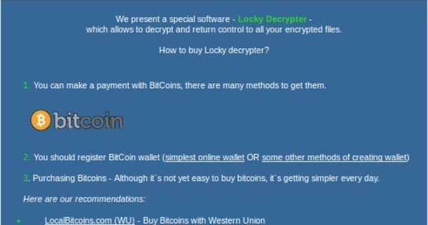 Locky payment page