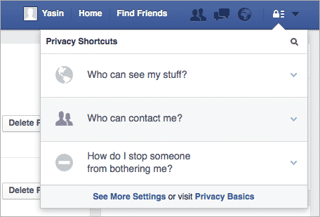 Facebook privacy button