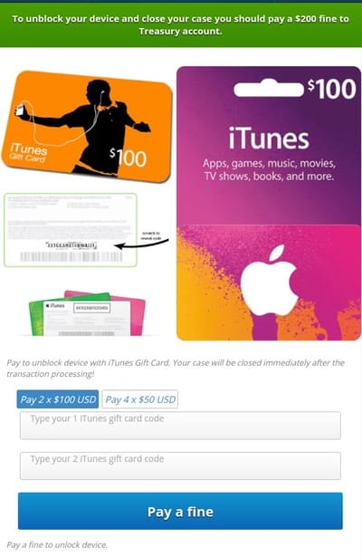 Android malware requests payment in iTunes vouchers