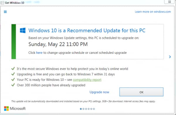 Windows 10 upgrade reminder