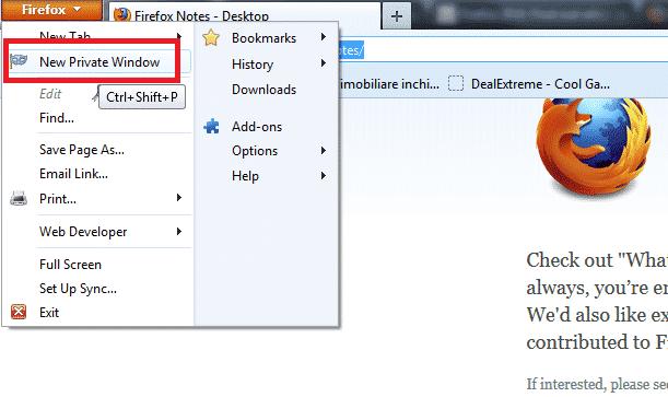 Firefox 20 private window update