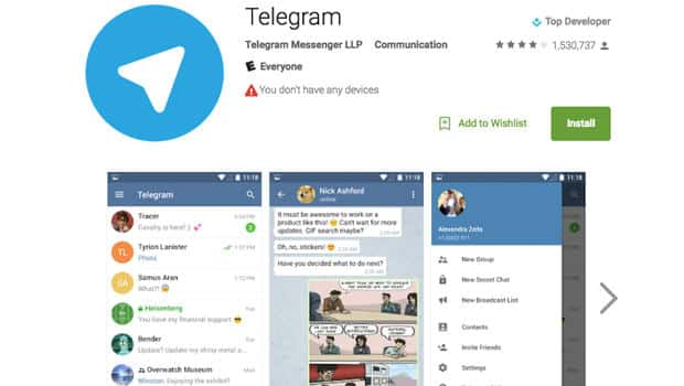 Telegram messaging app