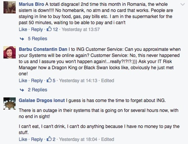 Unhappy ING customers on Facebook