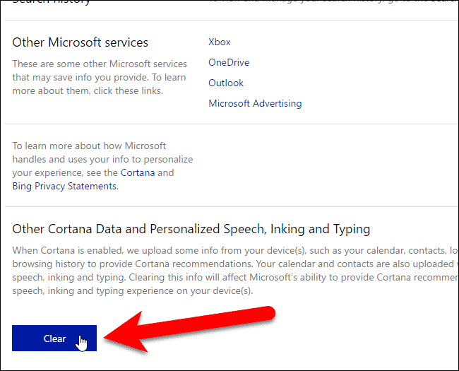 10 clicking clear for other cortana data