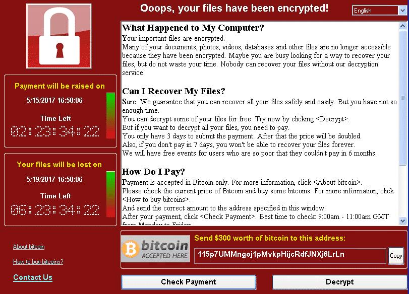 Wannacrypt ransom executable