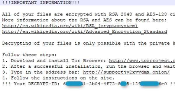 Mole ransomware message