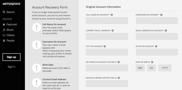 Myspace account recovery old
