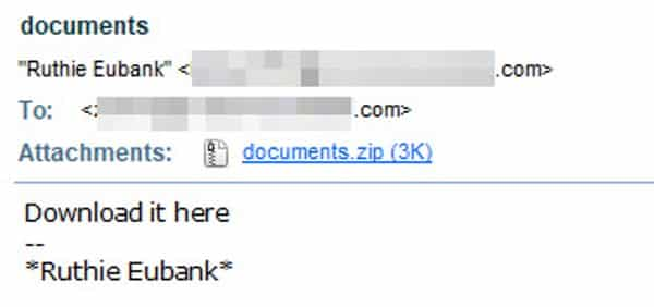 One of the Locky attack emails spotted by AppRiver.