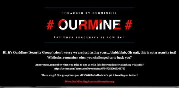 Wikileaks after Ourmine had done its mischief