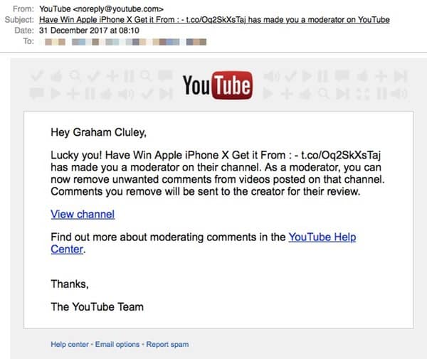 Youtube scam email