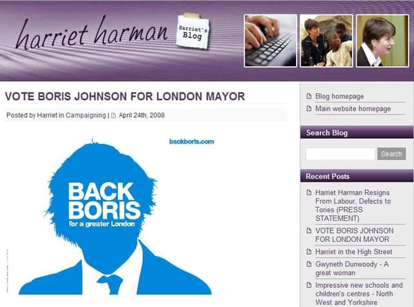 Harman backs Boris?