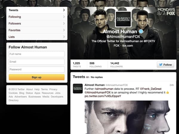 Almosthuman old twitter