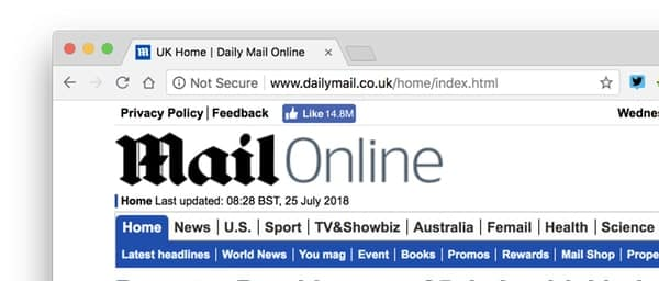 Daily Mail's website doesn't use HTTPS