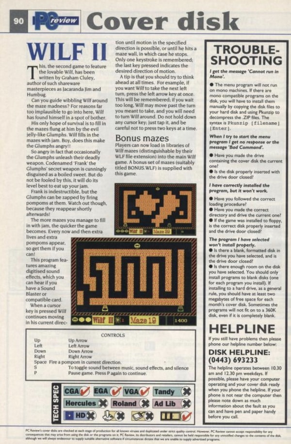 Wilf II's write-up in a 1992 edition of PC Review magazine