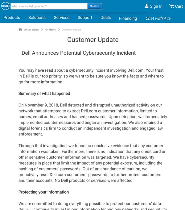 Dell statement