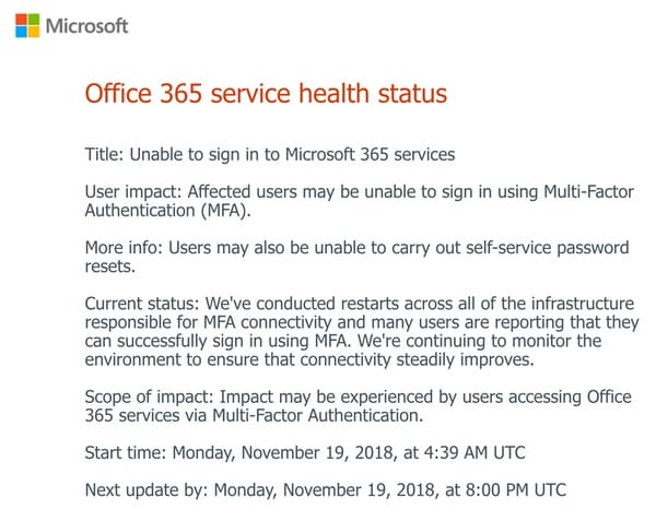 Multi-factor failure locks out Microsoft Office and Azure users