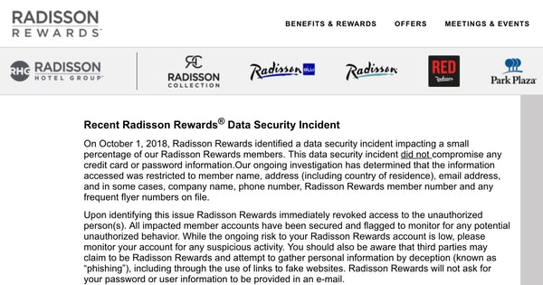 Radisson Hotel Group reveals hack of rewards site