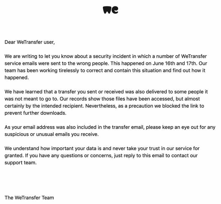 WeTransfer notified users via email.