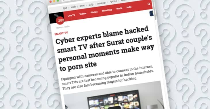 Did a hacked smart TV upload footage of couple having sofa sex to a porn website?