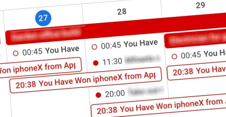 Won a free iPhone? No, it's Calendar spam