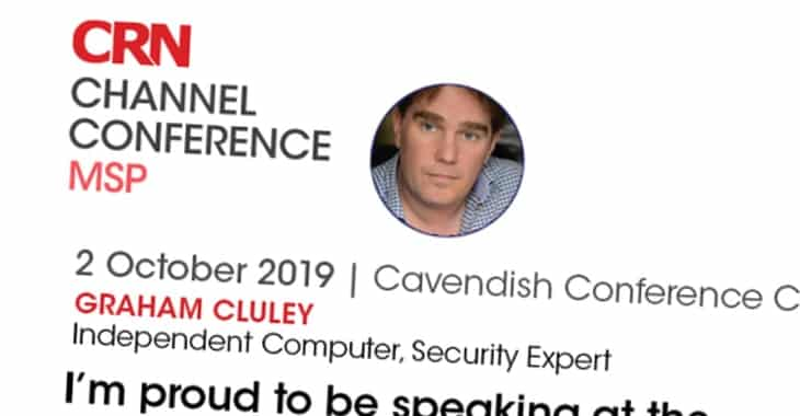 I'm keynoting about cybercrime at the CRN MSP conference in London next week