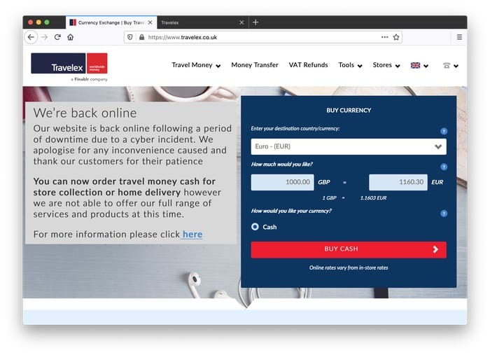 Travelex website, Jan 31 2020