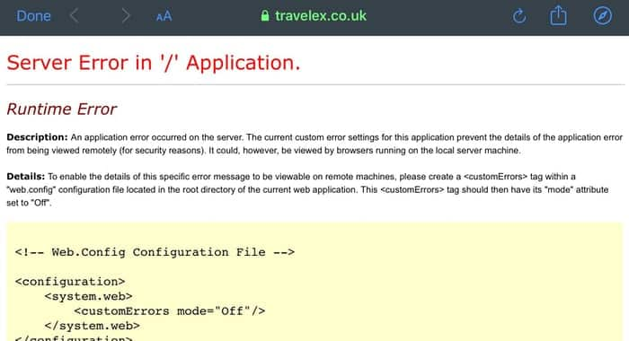 Travelex website error