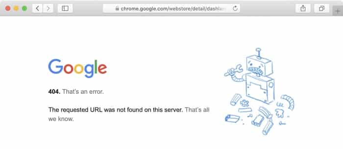 Dashlane chrome extension 404