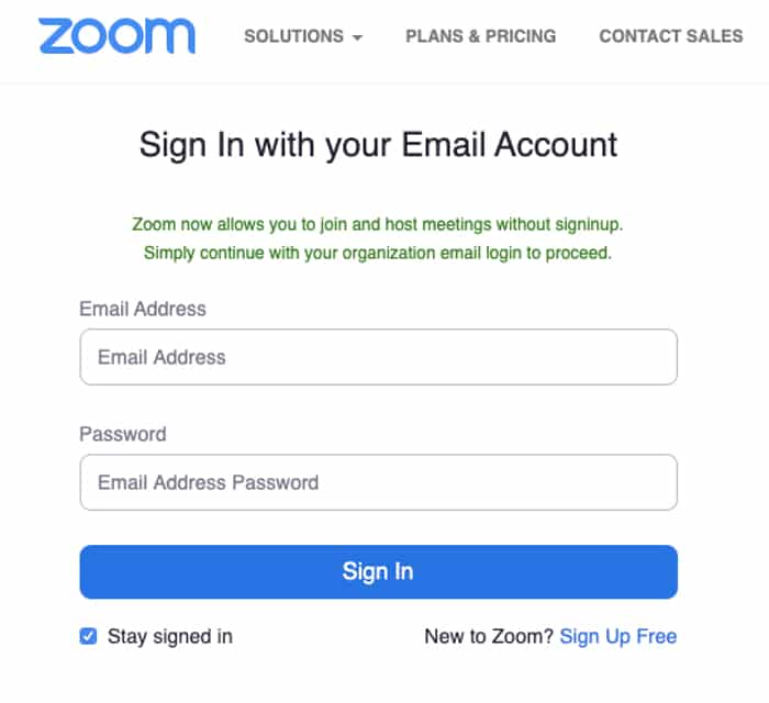 Zoom phishing login