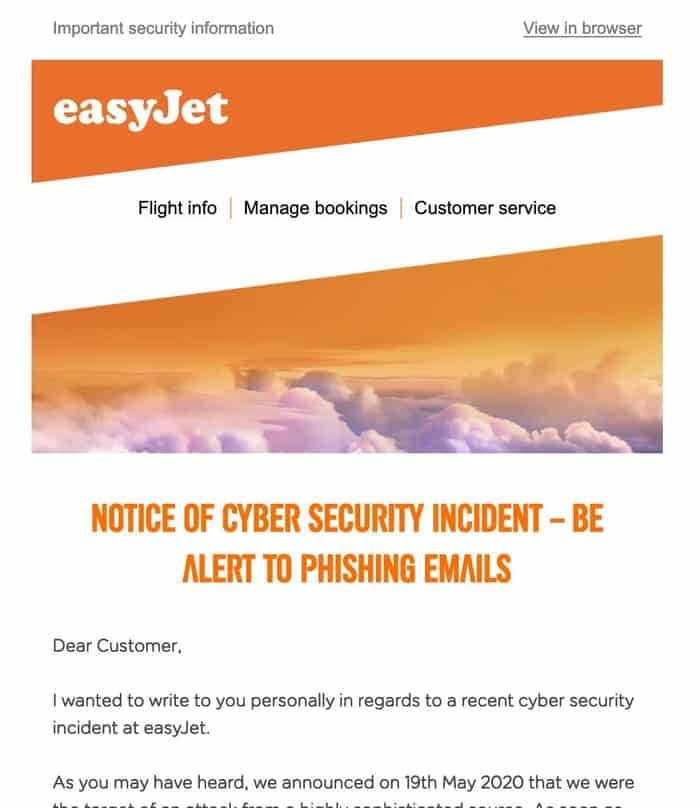Easyjet email