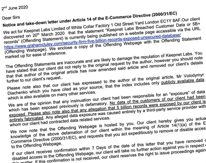 The letter from Keepnet Labs's law firm