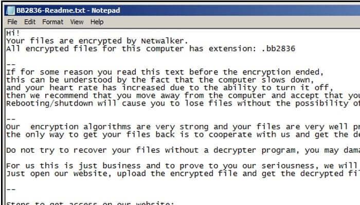 Netwalker message