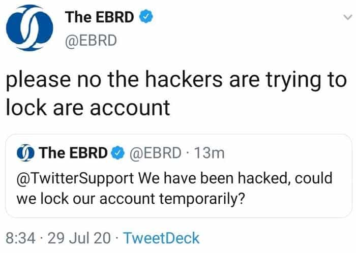Cat mouse tweet from hacked EBRD account