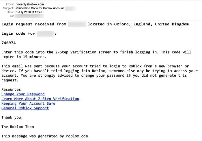 Roblox verification email