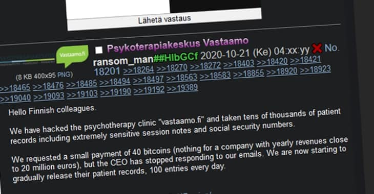 Finnish therapy clinic's CEO fired after despicable data breach