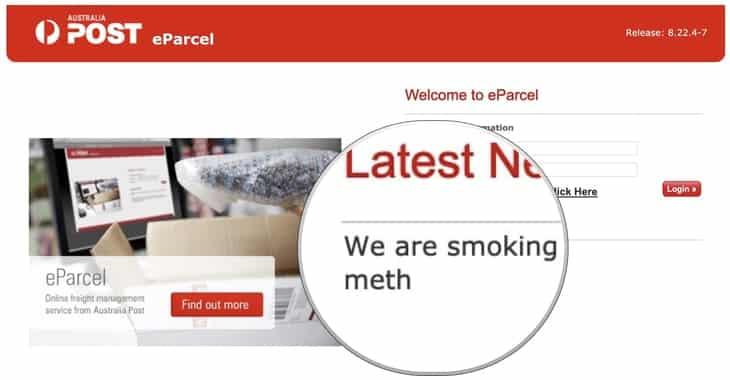 Australia Post isn't smoking meth, despite what its website may have said